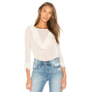 J.O.A Ruffle Neck Embroidered Top In Ivory-XS